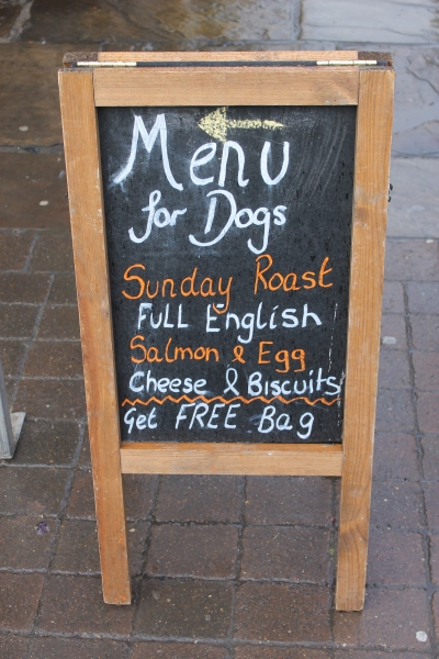 Menu for dogs in York
