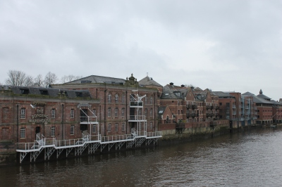 Warehouses lining the canal in York