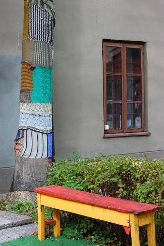 Colourful Vilnius with yarn bombing