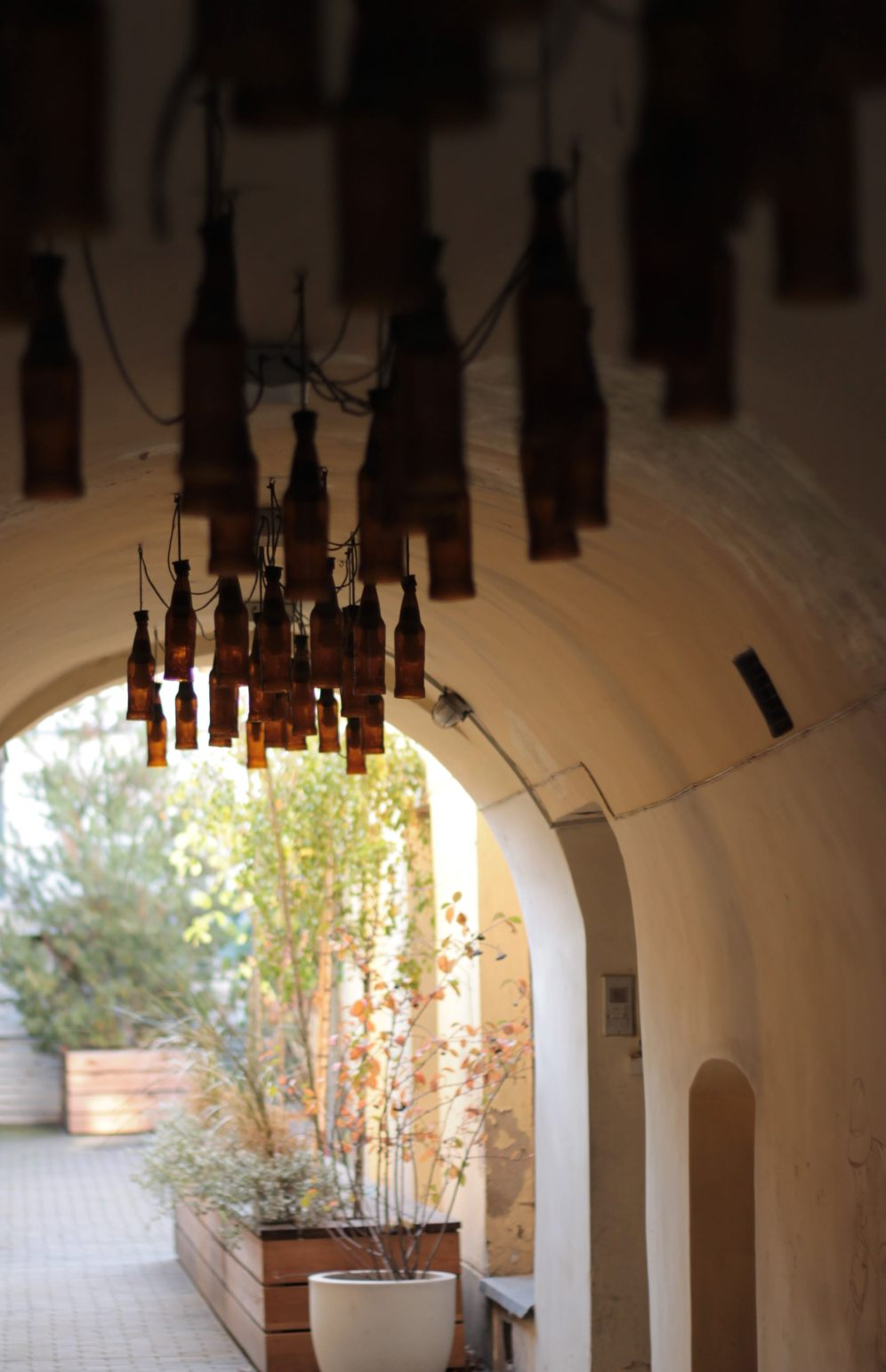 Bottles hanging from a ceiling - why not?