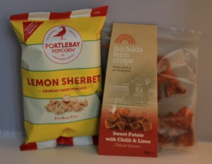 Flavourly box, sweet popcorn, sweet potato, crisps