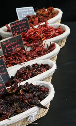 Chilli peppers food market