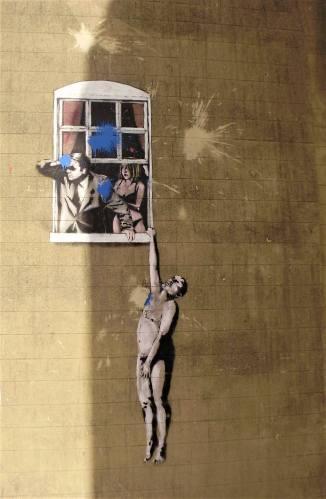 Naked Man Hanging from Window, Banksy, street art, Bristol