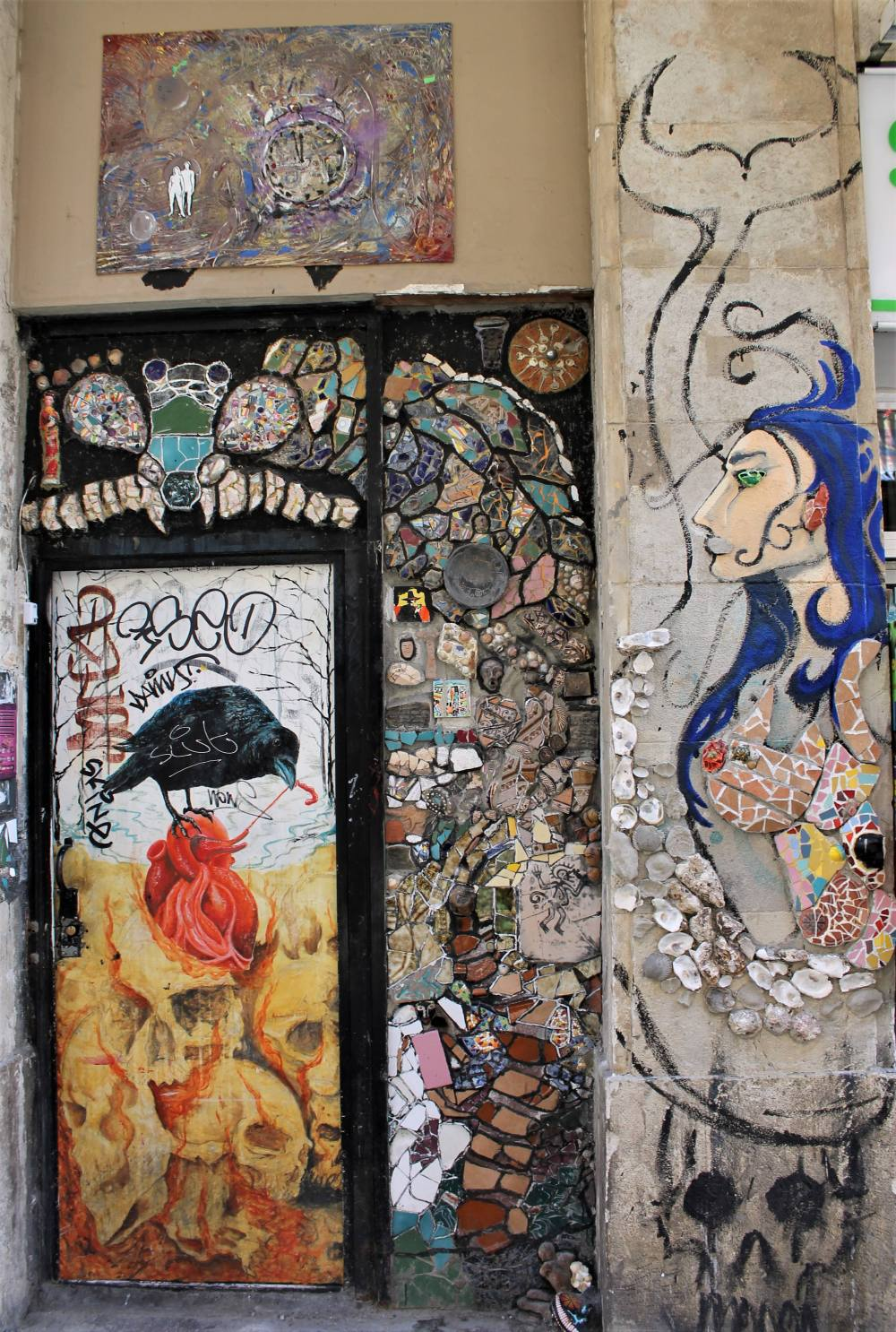 Street art colourful Barcelona mosaic