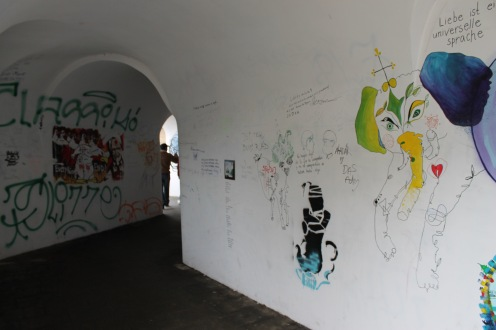 Street art in a pedestrian underpass in Olomouc