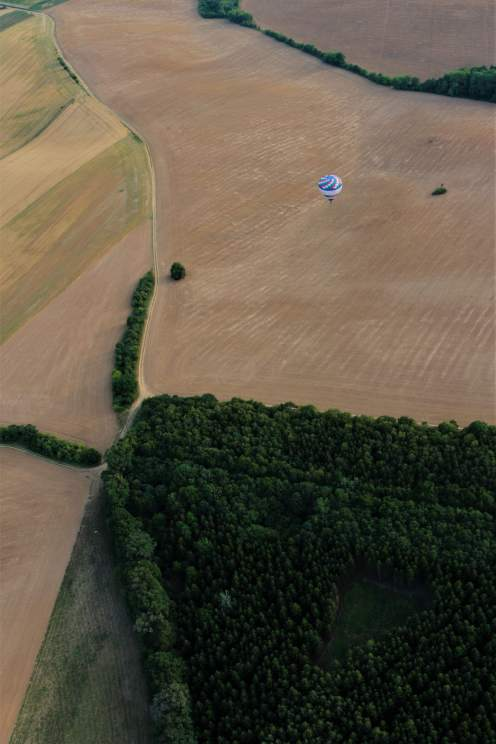 Hot air balloon flight - fields under us