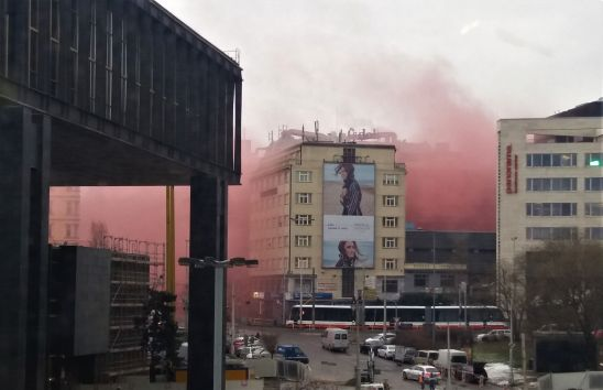 Pink smoke Prague city centre Transgas protest