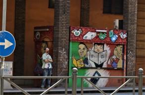 Street art Bologna newspaper stall