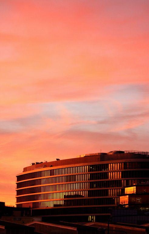 Avast building in Pankrác, Prague, at the sunset
