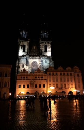Týn Church at the Old Town Square in Prague at night