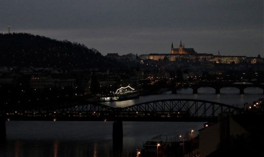 Hradčany panorama from Vyšehrad, night, train, boat, Petřín