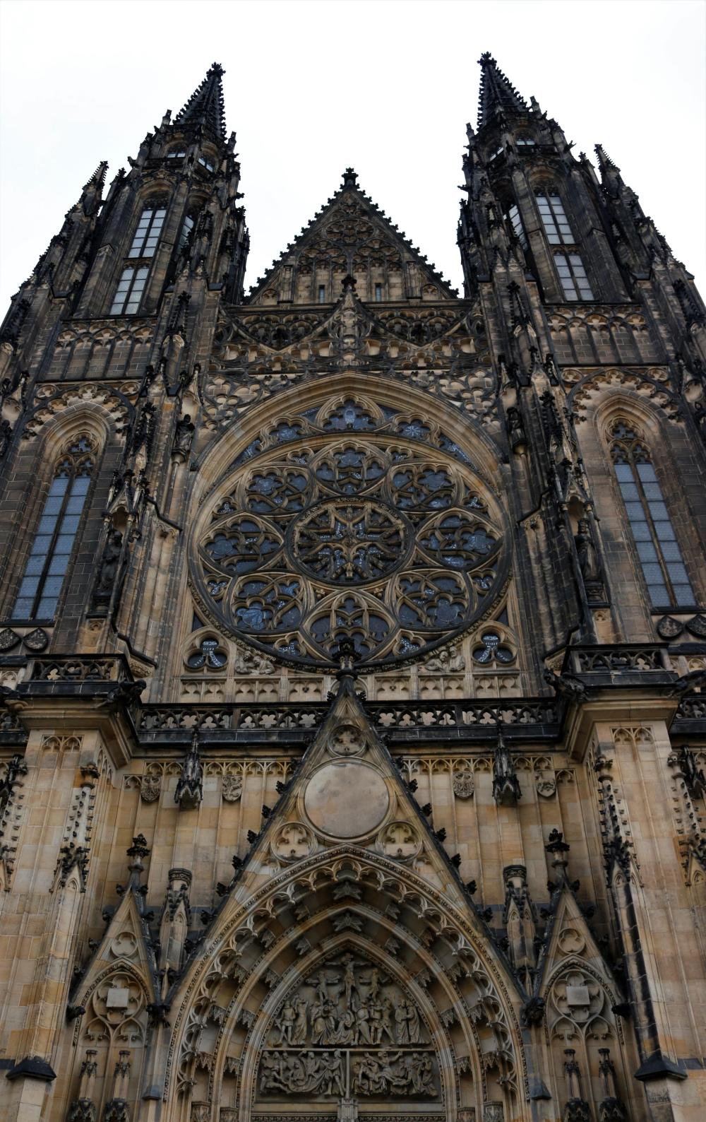 Portal and the view up the St Vitus cathedral in Prague