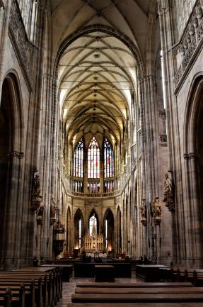 The view of the inside of the St Vitus cathedral in Prague