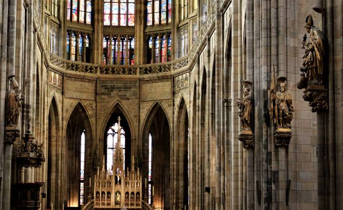 Statues inside the St Vitus cathedral in Prague