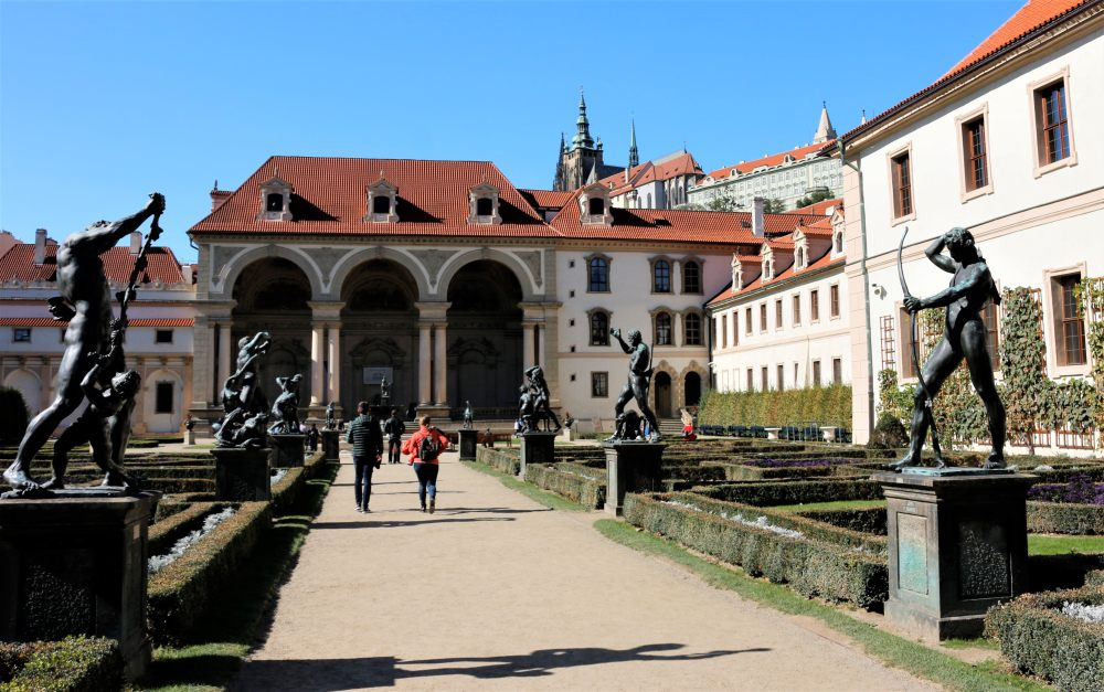 Wallenstein Garden in Prague with Senate building